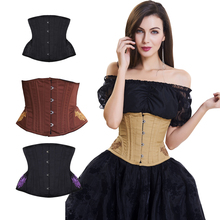 Underbust Steampunk Steel Boned Corset Tummy Control Gothic Corsets Cincher with Curved Hem Bustiers Embroidery Waist Trainer
