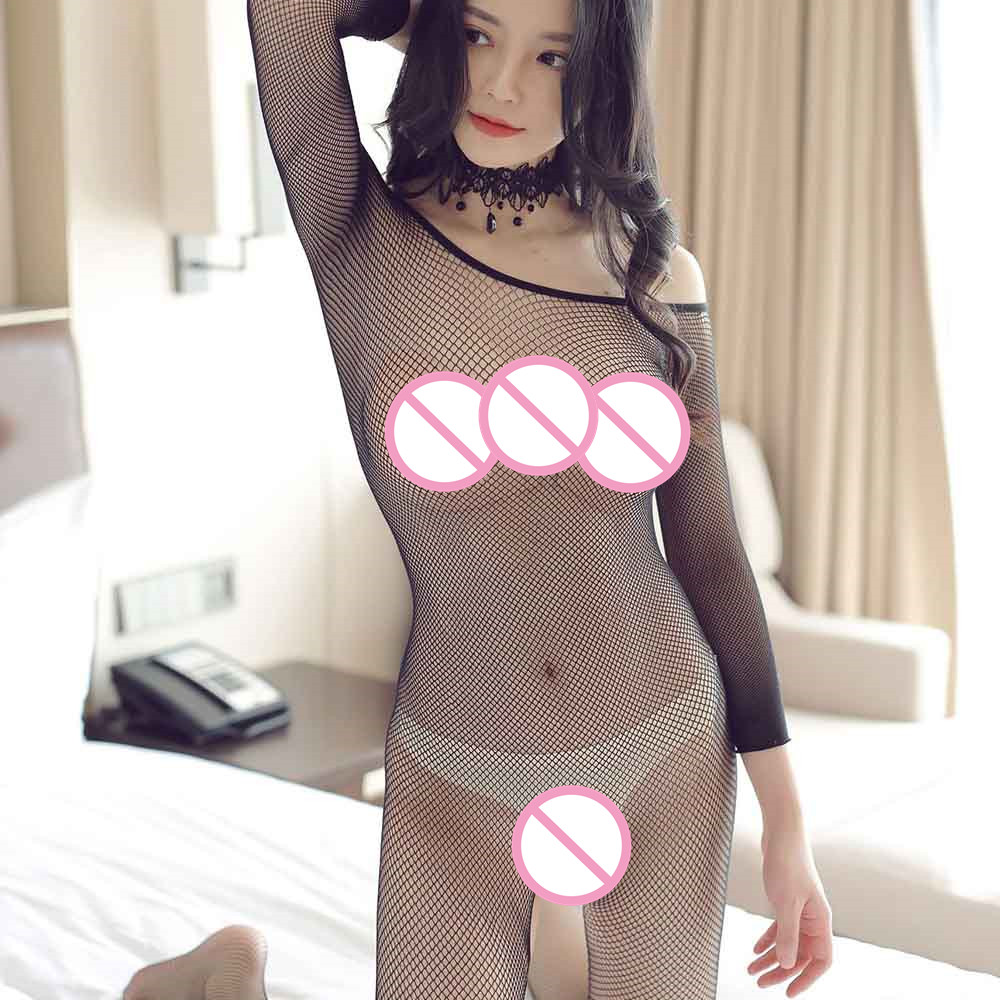 <font><b>Sexy</b></font> <font><b>Lingerie</b></font> Lace Mesh Bodysuit Temptation Transparent Long-sleeved Crotchless Fishnet Bodystockings <font><b>Women</b></font> <font><b>Erotic</b></font> <font><b>Underwear</b></font> image