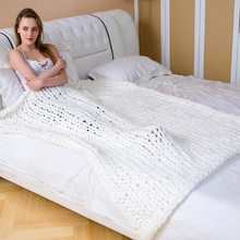 Nordic Wool Knitted Blanket Bulky Knitting Throw Blankets Home Textile Warm Chunky Knit Sofa Travel Bed 2019