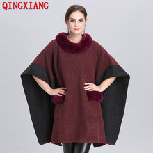 2019 Winter Knitted Poncho Bawting Sleeves Cape Faux Fox Fur Loose Pullover Women Long Plus Size Sweater Shawl With Fur Pocket geometrical pattern cape loose sweater with taeesl details