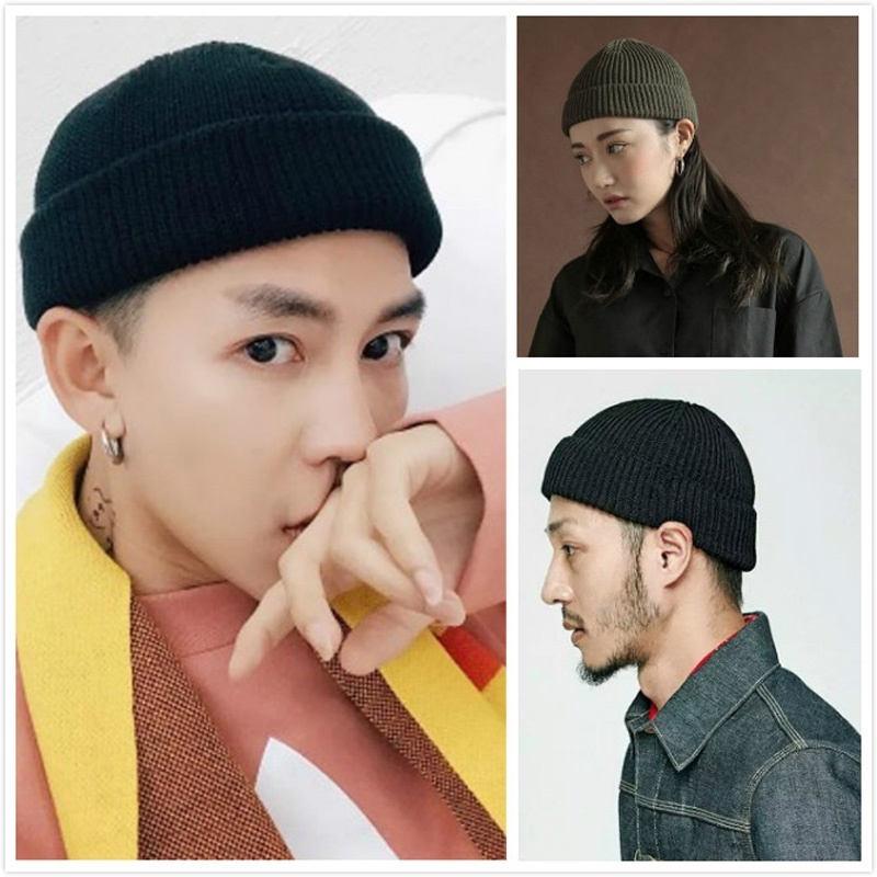Solid Knitted Beanies Caps For Men Women Hip Hop Skullcaps Autumn Winter Casual Fisherman Cuff Hat Daily Hat