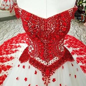 Image 5 - LS37749 2018 el çalışma kırmızı 3D çiçekler parti elbise kapalı omuz boncuklu lace up evaze elbise düğün parti için gerçek olarak resimleri