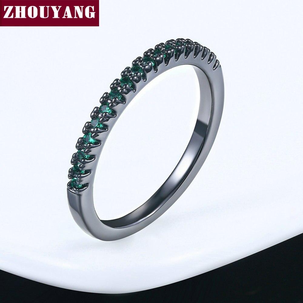 ZHOUYANG обручальное кольцо для женщин и мужчин лаконичное классическое многоцветное мини кубическое циркониевое розовое золото цвет подарок модное ювелирное изделие R251 - Цвет основного камня: R225