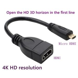 90 degree angle Micro HDMI to HDMI male-to-female adapter for D-type HDTV micro hdmi cable connector 10cm Support 4K