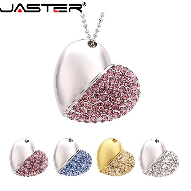 JASTER USB 2.0 Pen Drive Metal Keychain 4GB 16GB 32GB 64GB Metal Crystal Heart Usb Flash Drive Pendrive Usb Stick Customer Logo