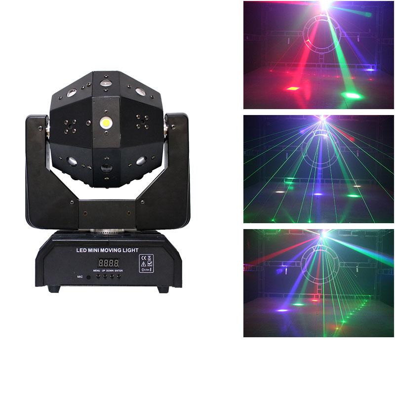 Светодиодный мини шар с движущейся головкой, лазерный луч, стробоскоп, 3 в 1, футбольный ролик, движущаяся головка s DMX, бесконечное вращение, светодиодный диско DJ шар, светильник