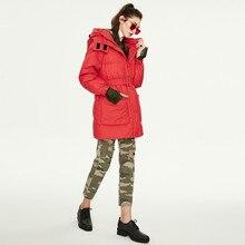 Новинка, зимний женский пуховик средней длины с капюшоном и поясом, толстый теплый пуховик с капюшоном для женщин K9043