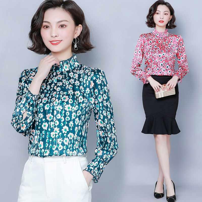 Mode coréenne soie femmes Blouses Satin à manches longues Rose femmes chemises de grande taille XXL Blusas Femininas Elegante dames hauts