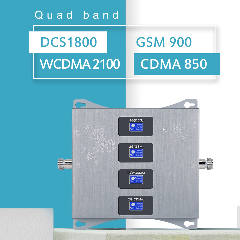 850+900+1800+2100 MHz Quad Band Signal Repeater GSM CDMA DCSLTE WCDMA  Cellular Booster B5 B8 B3 B1 4G LTE Amplifier LCD Display
