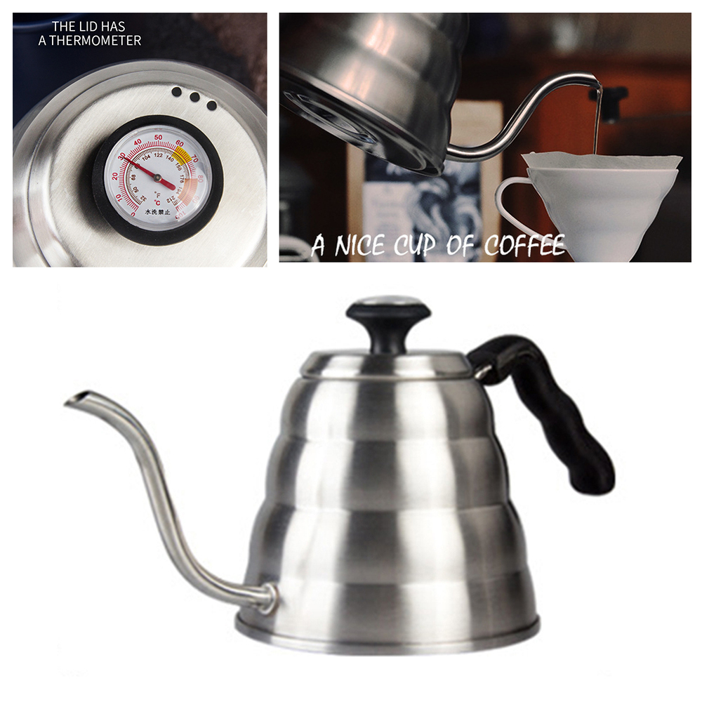 1200 Ml in Acciaio Inox per Tè E Caffè Gator Versare Sopra Bollitore a Collo di Cigno Becco con Termometro per Il Caffè di Alta Qualità
