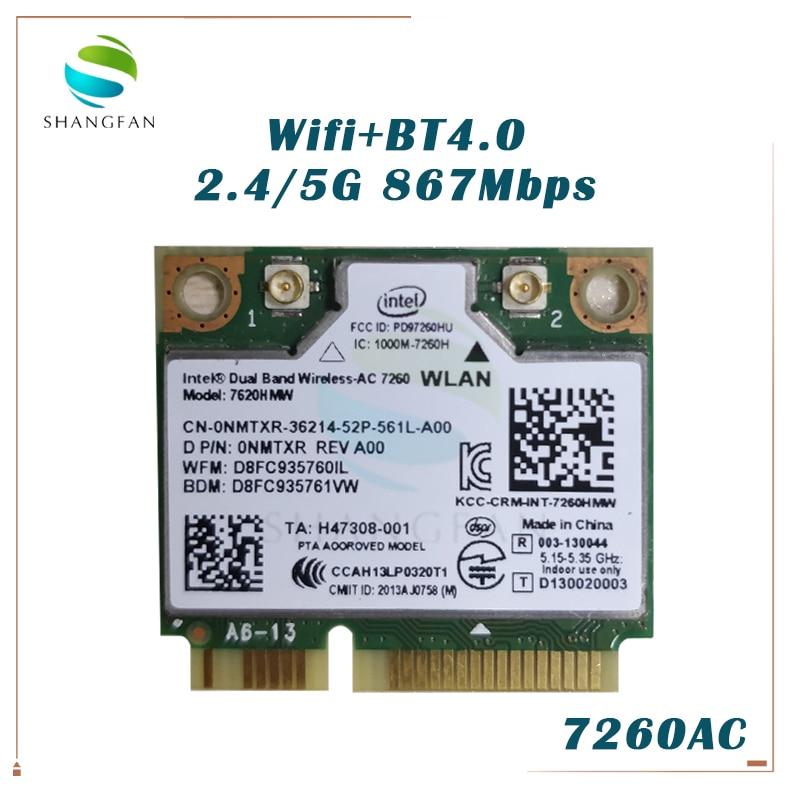 Cartão ac para intel banda dupla Wireless-AC7260 7260hmw 7260ac 7260 hmwac 867 mbps + bluetooth4.0 metade mini pci-e sem fio cartão wi-fi