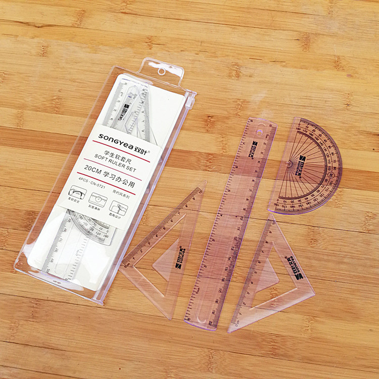 4 Pcs/Pack New Straight Ruler Protractor Students Math Geometry Soft Bendable Plastic Triangle Ruler Set Office School Supplies