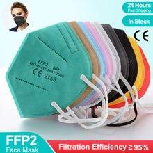 5-100 peça ffp2 mascarillas certificadas kn95 máscaras 5 camada ffp2mask poeira respirador máscara facial reutilizável mascarilla fpp2 aprovado