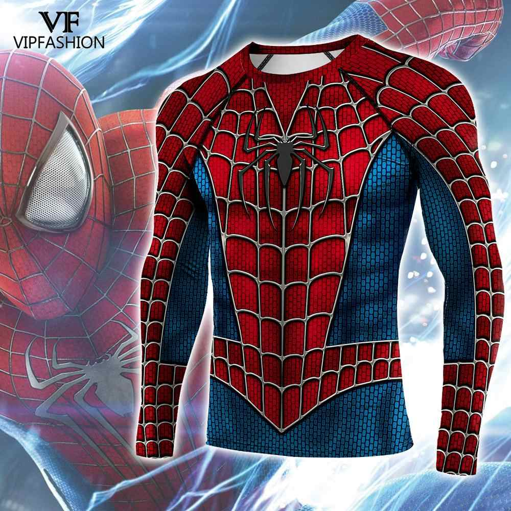 VIP FASHION Raglan Sleeves Spider 3D Printed Compression Shirts Cosplay Superhero Fitness BodyBuilding Clothing Tops For Men