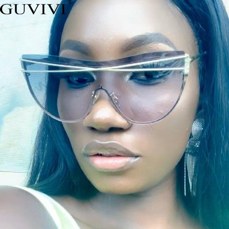 Rimless Oversized Sunglasses Women 2020 Cat Eye Sunglasses Men Gradient Fashion Stempunk Sunglasses Goggle Eyewear UV400