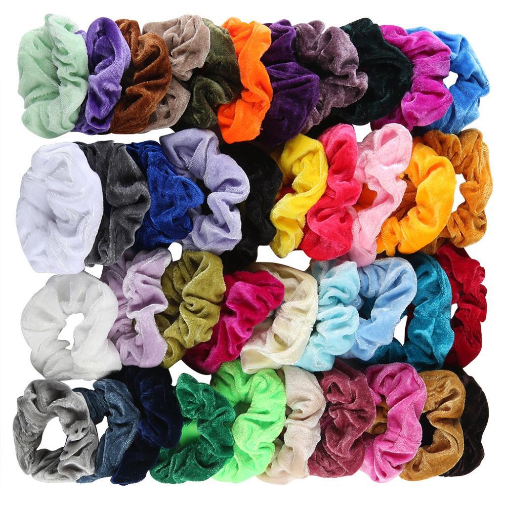 40Pcs Velvet Scrunchie Women Girls Elastic Hair Rubber Bands Accessories Gum For Women