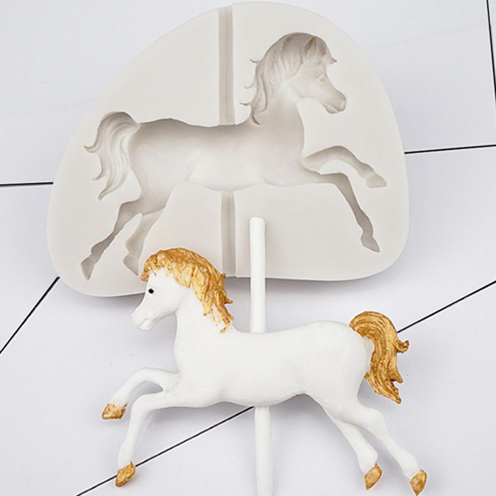 カルーセル馬の形のプラスチックケーキ型耐熱皿 3D 用シリコーン金型チョコレート Sugarcraft ケーキツール装飾