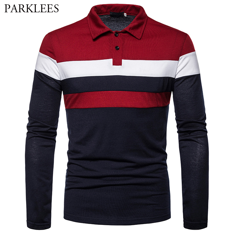 Three-Color Stitching Fashion Design Men's Long-Sleeved New Patchwork Cotton Casual Slim Fit Lapel Polo Shirt Business For Mens