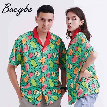 Bluza z nadrukiem owocowym strój kąpielowy kobiety Aloha koszule letnia seksowna bluzka Mujer koszula para zapinana z krótkim rękawem Casual Pareo odzież tanie i dobre opinie Baeybe CN (pochodzenie) Wiskoza REGULAR Lato 2021 Lekki Sukno Proste Hawaiian Shirt z włókien syntetycznych Drukuj WOMEN