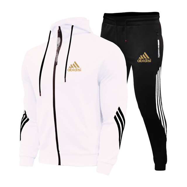 2021Spring And Autumn Brand Fashion Men's Sets Two-piece Striped Sportswear Men's Hooded Top Outdoor Sports Pants Tracksuit Suit 5