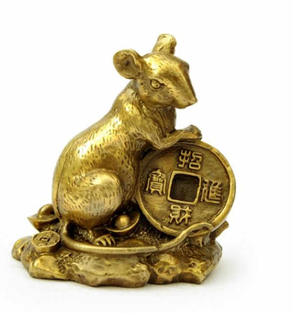 Feng Shui Money  Pure Copper Ornaments Amass Fortunes Rat Bronze Wares In The Twelve Zodiac of Bronze Rats Lucky Gift