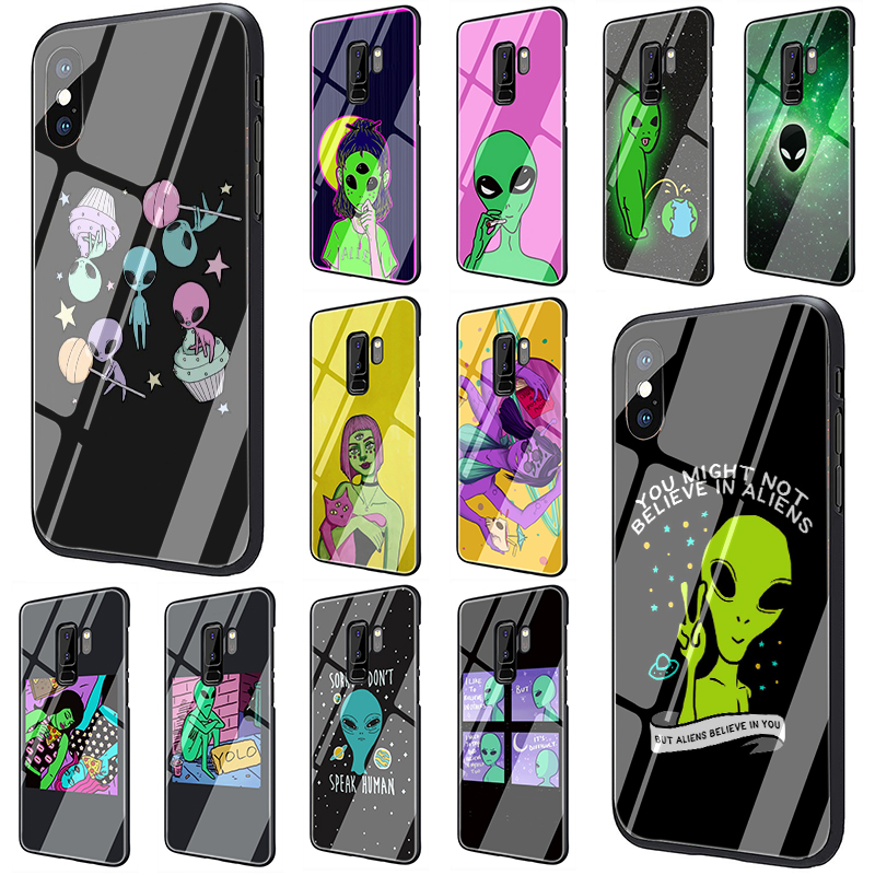 <font><b>Cute</b></font> Cartoon alien space Tempered Glass Phone Cover <font><b>Case</b></font> For <font><b>Samsung</b></font> Galaxy S7 edge S8 Note 8 9 10 Plus <font><b>A10</b></font> 20 30 40 50 60 70 image