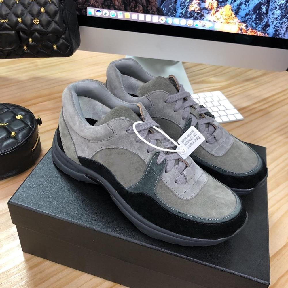 2019 OLOME Designer Shoes Men Women Luxury Fashion Black Grey Suede Calfskin Low Lace Up Sneaker Patent Pvc Runners Trainers