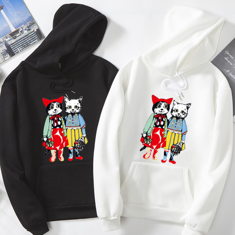 winter new mens hoodies fun cat print Harajuku Casual Men/women sweatshirt teen Oversized warm Couples hip hop Pullovers clothes