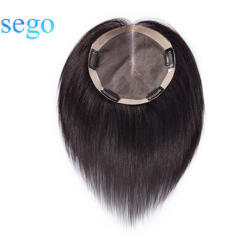 SEGO 6 Inch Straight Fine Mono Hair Topper Toupee For Women Pure Color Human Hair Pieces Clip In Non-Remy Toupee 150% Density
