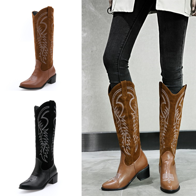 Cowgirl Motorcycle Chunky Boots
