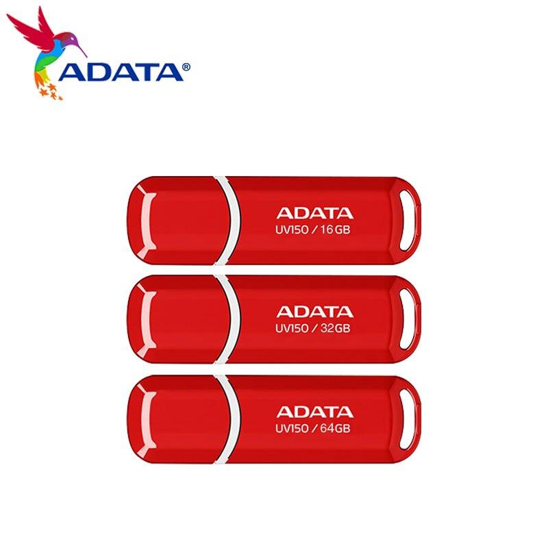 USB 3,2 оригинальный USB флеш-накопитель Adata UV150, 16 ГБ, высокоскоростная 32 ГБ, 64 ГБ, красная флешка, мини U-диск для компьютера, ПК, карта памяти