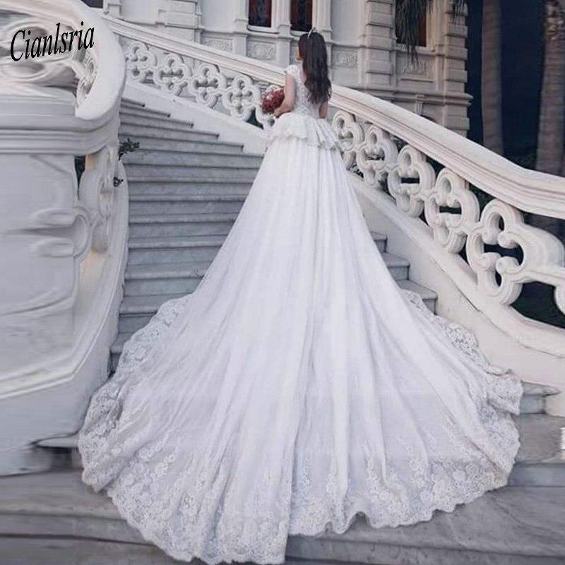 Image 2 - Modest Sweep Train Dubai Arabic Long Mermaid Wedding Dresses Cap Sleeve Appliques Lace Ruffles Bridal Gowns robe de mariéeWedding Dresses   -