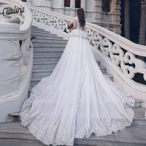 Image 2 - Modest Sweep Train Dubai Arabic Long Mermaid Wedding Dresses Cap Sleeve Appliques Lace Ruffles Bridal Gowns robe de mariée