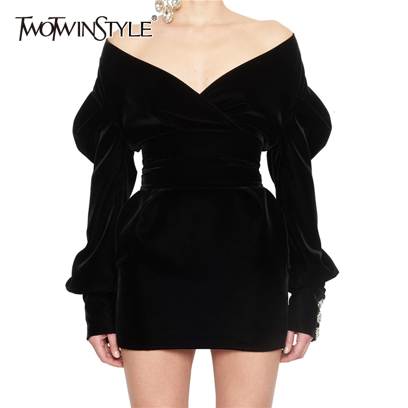 TWOTWINSTYLE Sexy Party Dress For Women Off Shoulder V Neck Puff Sleeve High Waist Dresses Female 2020 Autumn Fashion New