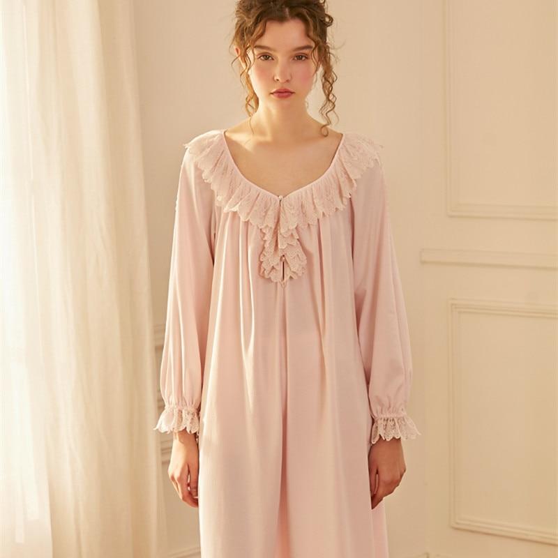 Women Cotton Nightgown Elegant Sleepwear Dress For Women Nightgown Pink White