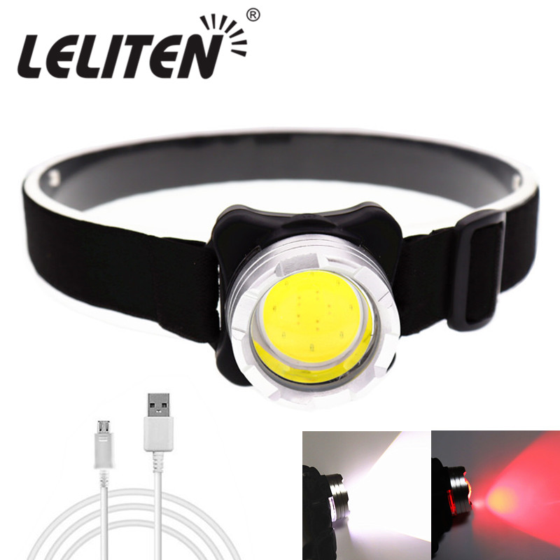 Drop Shipping USB Rechargeable Headlamp Mini Portable Headlight torch Head lamp flashlight Have battery Red / white LED headlamp