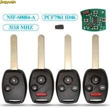 Chip de Controle De Alarme De Carro Remoto Chave com PCF7961 ID46 jingyuqin Para FLUXO 2 S0084-A 313.8MHz para Honda CIVIC/3/4 botões