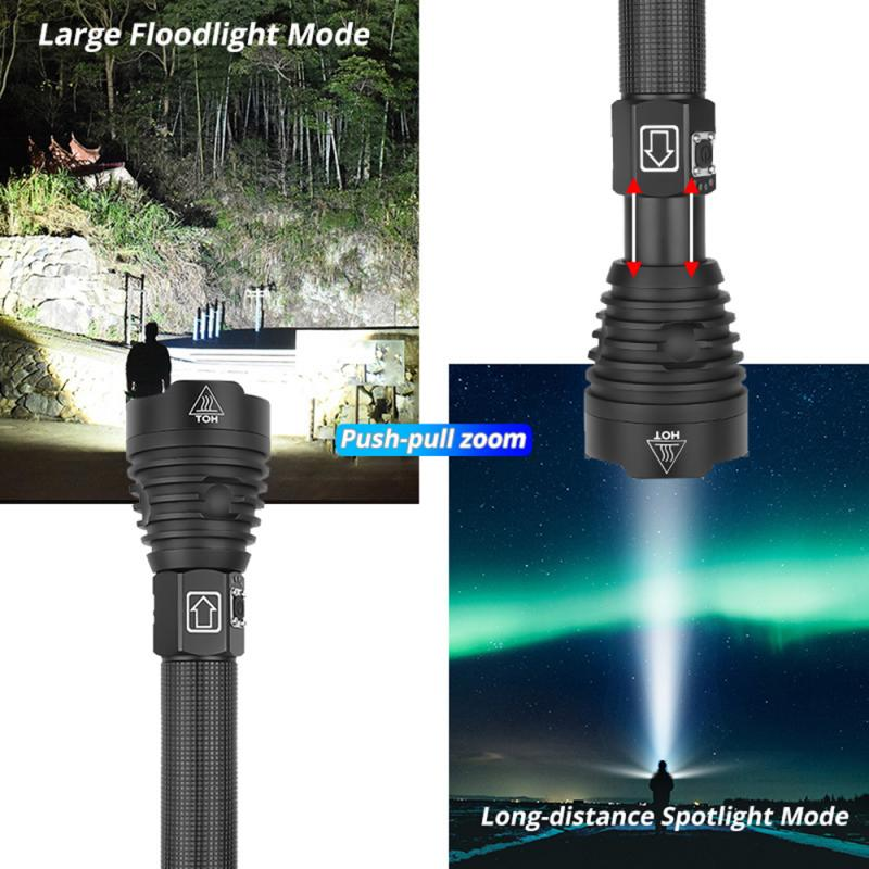 Super Bright XHP90 Led flashlight Ultra Bright torch Camping light waterproof Zoomable Bicycle Light with 18650 26650 battery