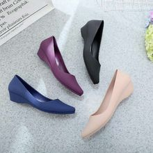 Women Wedges Shoes Slip-On Pointed Toe Shallow Loafers Ladies Wedges Middle Heel