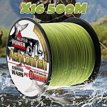 Hilo de pesca multifilamento pe de 16 hebras trenzadas 500M hollowcore 20-500LBS hilo de hilo 0,20-2,0mm super cuerdas de pesca de agua salada