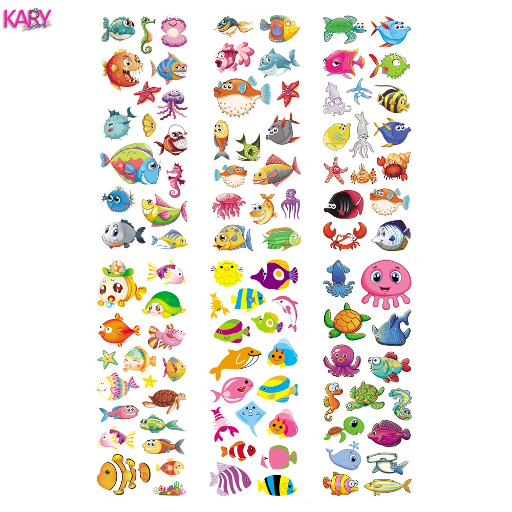 6 Sheets Ocean Marine Life Animals Aquatic Creatures Scrapbooking Bubble Stickers Reward Kids Children Toys Factory Direct Sales
