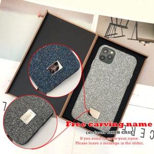 Image 2 - 양가죽 모든 항목을 포함하는 iphone xs 용 뒷면 커버 케이스 max xr 11pro max 7 8 plus 금속 단추 고급 가죽 케이스 CKHB BD2