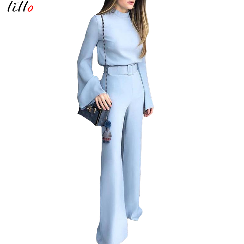 Elegant Blue Trousers Long-sleeved Jumpsuit Trumpet Sleeves Tide Brand Design Fashion Temperament Casual Professional High Quali