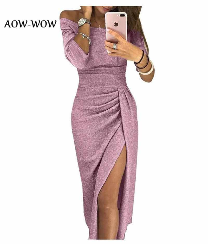 Shiny lace winter tight shiny long sleeve for party dinner Dress Woman autumn night party sexy pink clothes sukienka S-5XL