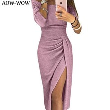 Sparkling Lace winter bodycon Shining slim long sleeve party Dinner dress women