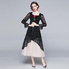 Zuoman feminino primavera elegante a line vestido festa de alta qualidade longo vintage festa robe femme gola quadrada designer vestidos