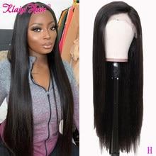 Klaiyi cabello recto Remy pelucas de cabello 360 mitad de encaje pelucas cabello humano pelucas con minimechones Natural 12