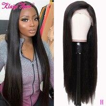 """Klaiyi pelucas de cabello liso Remy, 360, mitad de encaje, pelucas de cabello humano con minimechones naturales de 12 """" 26"""" pulgadas, 150% y 180% de densidad"""