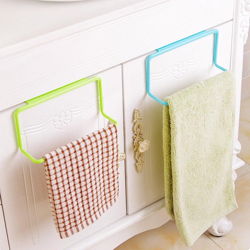 Portable Towel Rack Plastic Hanging Holder 1Pcs Home Storage Organizer Kitchen Accessories Cupboard Cabinet Door Back