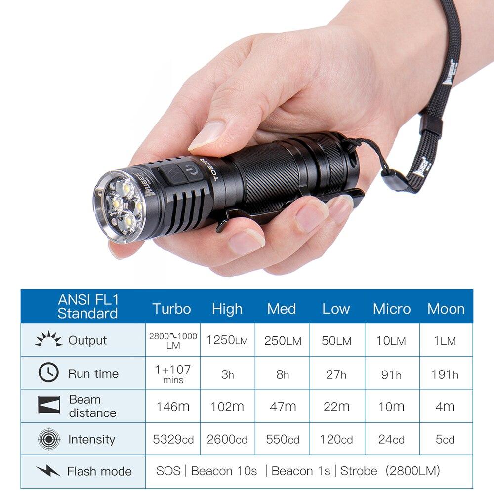 WUBEN TO50R Hohe CRI Taschenlampe 2800 Lumen USB Aufladbare IP68 Dual Seite Schalter LED Blitz Licht mit 21700 Batterie - 2